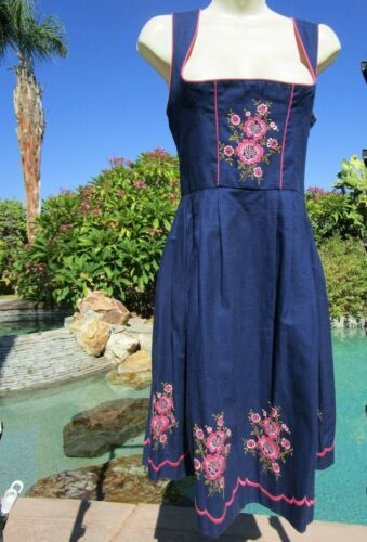 "Authentic Dirndl dress dark blue 36"" bust Oktoberfest 28/29"" waist pink floral"
