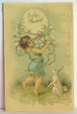 PostCard Vintage Easter Greetings Bunny Holiday Stamp Posted 3-30-1907 Germany