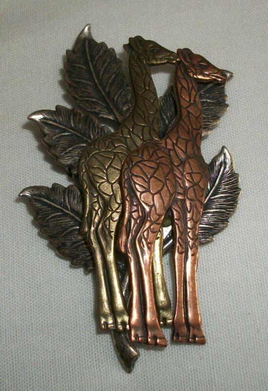 Vintage Brass Copper and Silver Tone Metal Giraffe Pin Brooch