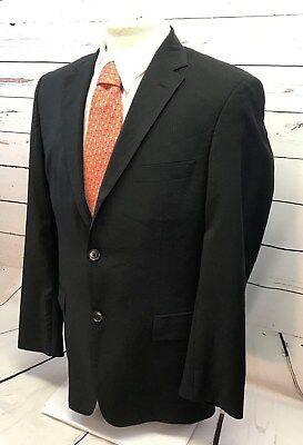 Hugo Boss Men's 40 R Suit Coat Sport Blazer 2 Button Wool Black Pinstripe Lined