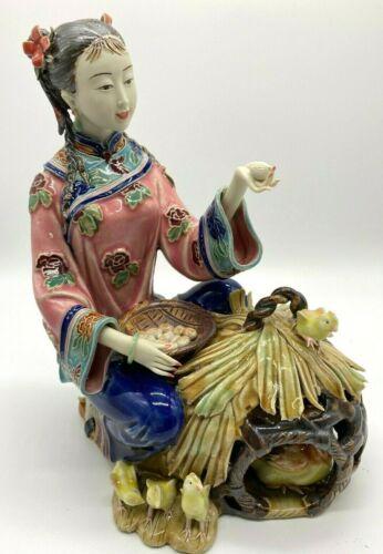 Asian Girl Figurine Porcelain Chicks Eggs Basket Beautiful Detail