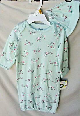 LITTLE ME 100% Soft Cotton Mint FLORAL SPRAY Gown w/Hat SIZE 0/3 MO NWT