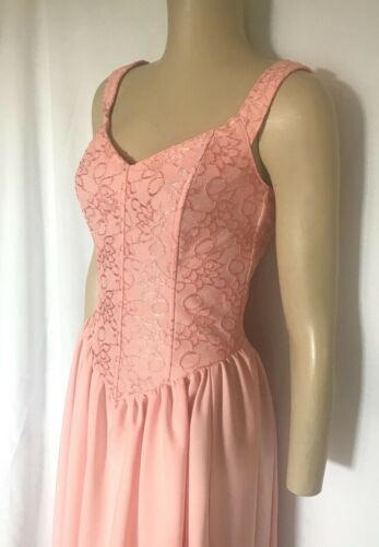 Peach Lace Bodice Corset Dress with Drawstring Cinched Back, Small