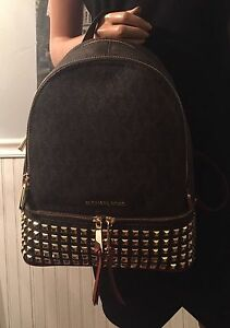 d41ed6fe197f Michael Kors Rhea Leather Studded Small Backpack Brown/Gold for sale ...