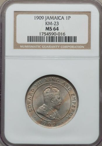 1909 Jamaica 1 Penny, NGC MS 64