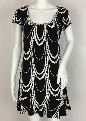 White House Black Market Black Pearl Design Trim Short Sleeve Dress Size Small