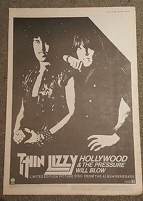 Thin Lizzy Hollywood  1982 press advert Full page 30 x 42cm mini poster