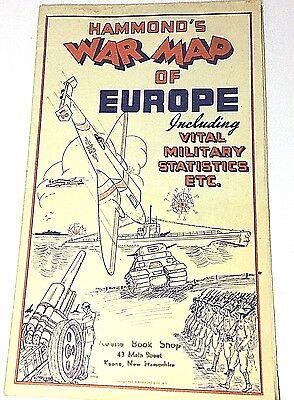 Hammond's War Map of Europe WWII Vital Military Statistics