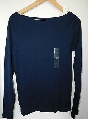 NWT GAP Women's Favorite Fitted LS T-Shirt Navy Blue Boat Neck XS & S New