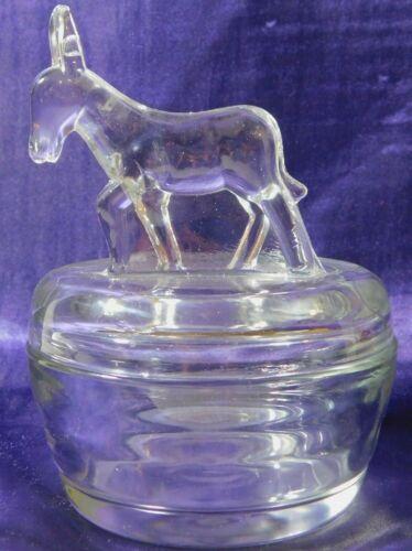 Vintage DONKEY CANDY DISH Jeanette clear glass lidded powder trinket