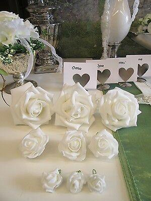 Schaumrosen Set 12 Stk. weiß ca 6 cm Foam rose Kommunion , Hochzeit Dekorosen