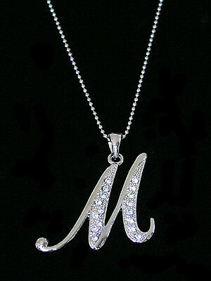 """""""M"""" LETTER INITIAL ALPHABET PENDANT CHARM NECKLACE CLEAR CRYSTALS LARGE SILVER T"""