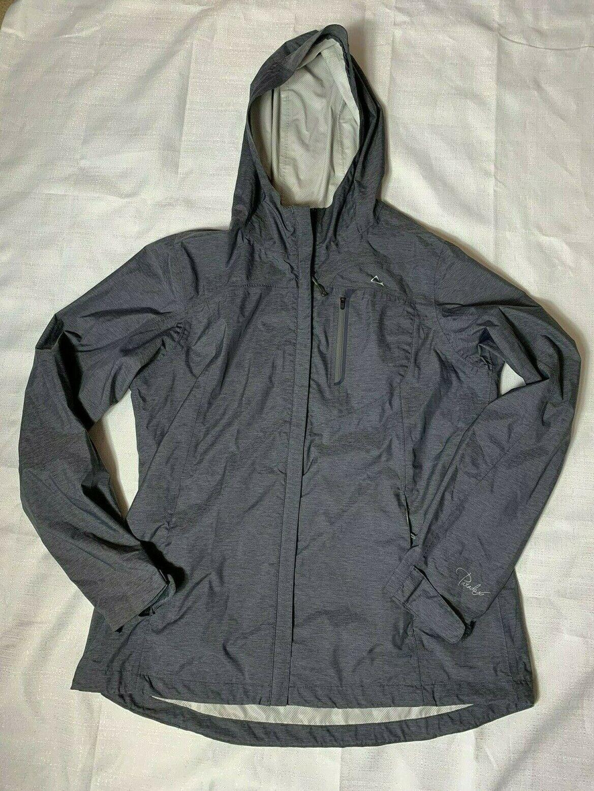 womens rain jacket gray heathered zip hooded