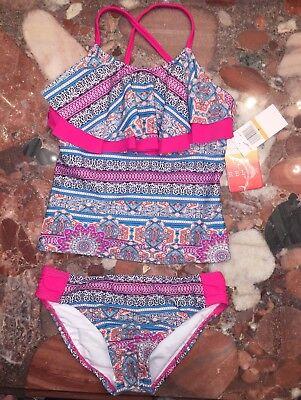 Nwt Tommy Bahama Hawaii Rosa Blau Gerüscht Tankini Satz Bikini Jugend Mädchen 7