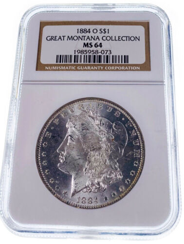 1884-O NGC MS64 Great Montana Collection Pedigree Silver Morgan Dollar Coin
