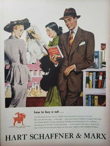 Vintage 1948 Hart Schaffner & Marx Suit Print Ad Ephemera Wall Art Decor