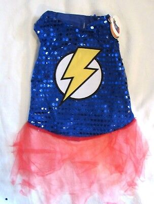 Pet Dog / Cat Superhero Halloween Costume Blue Sequin w LIGHTNING FLASH Sz M