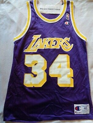 Champion Los Angeles Lakers Shaquille O'Neal #34 Basketball Jersey Size 40 NBA