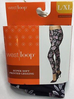 West Loop Pink Black Floral  Leggings Ladies Leggings L/XL New