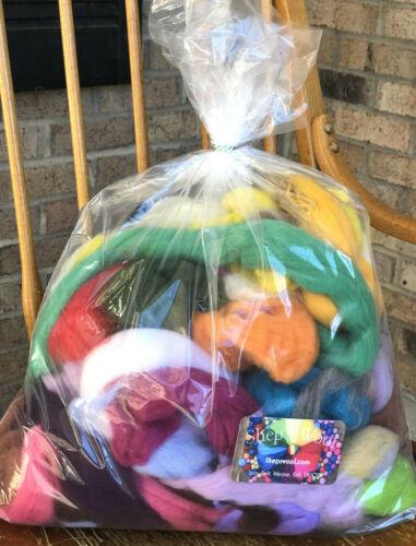Wool Roving Color Sampler, Spinning Wool, Felting Wool,  Roving Bag 12 oz, Rove