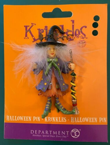 DEPT. 56 KRINKLES HALLOWEEN WITCH PIN BROOCH.  Crazy hair!  On original card!