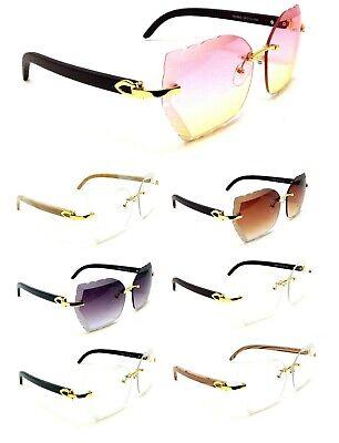 WOMENS RIMLESS BEVELED SUNGLASSES METAL FAUX WOOD GRAIN FRAME RETRO DESIGNER (Fake Designer Sunglasses)