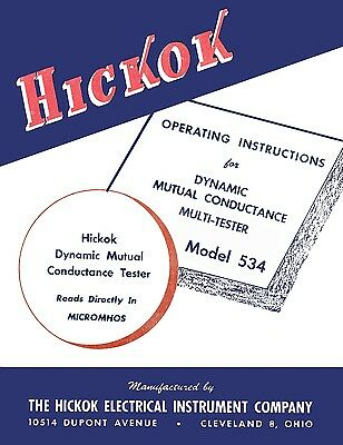 Hickok 534 Dynamic Mutual Conductance Tube Tester Manual
