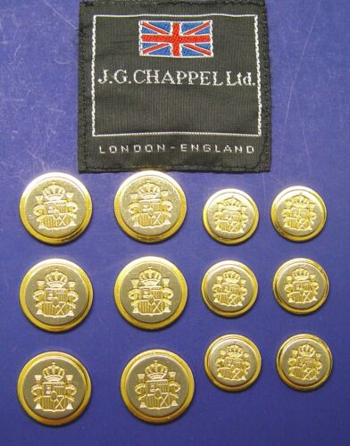SET OF12  J G CHAPPEL JACKET REPLACEMENT BUTTONS TWO TONE METAL SHINY GOOD COND.