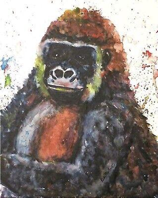 "Gorilla Watercolor  Original PAINTING  8 X 10""  EBSQ Artist Ricky Martin."