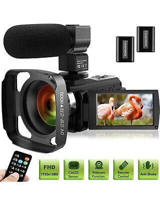 Ultra HD Video Camera Camcorder W Microphone 1080P 30FPS 24MP Vlogging Digital L