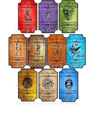 Grunge steampunk Halloween 10 bottle label stickers laminated scrapbooking  (Halloween 10)