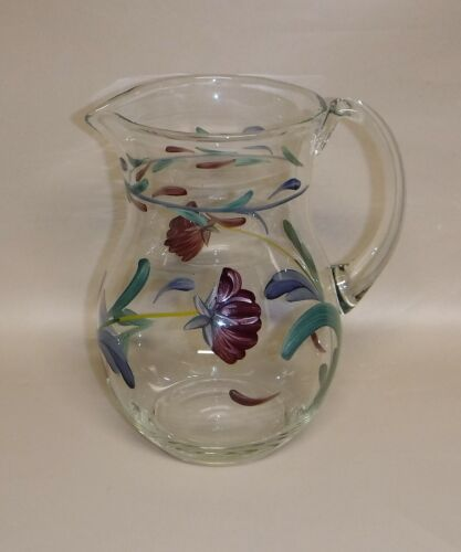 Lenox ~ Poppies On Blue ~ Hand Painted Glass Pitcher