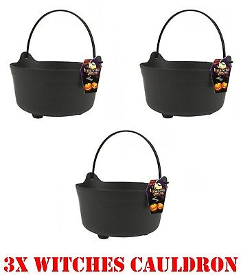 3x Halloween Witches Cauldron Handles Large Trick Treat Candy Bucket Fancy Dress - Large Witches Cauldron Halloween