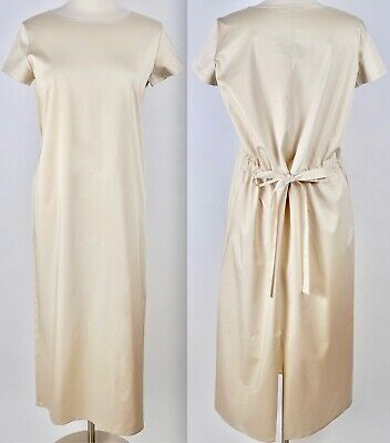 New sz M The Row dress long taupe cotton tied gathered back