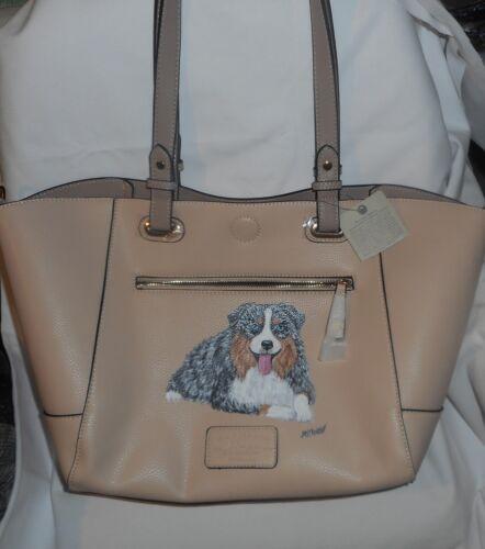 Blue Merle Australian Shepherd Dog Hand Painted Handbag Purse for Women