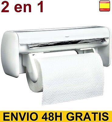 Porta Rollos de Cocina de Pared doble Aluminio Film Papel Portarrollos 2...