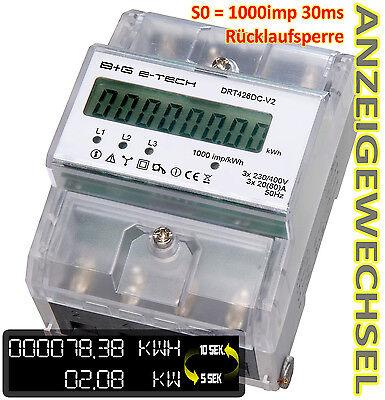 digitaler 3 Ph. Drehstromzähler 20(80)A für Hutschiene mit S0 und Rücklaufsperre