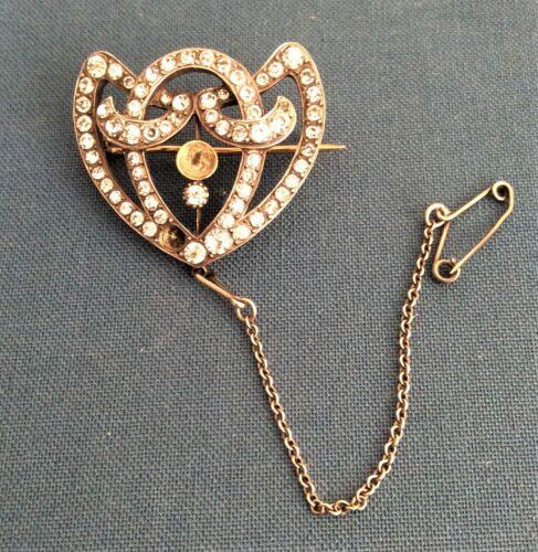 Art Nouveau silver, gold and paste set brooch