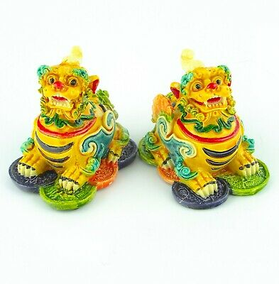 Pair of Feng Shui Colorful Pi Yao Statues Two Pi Yao Figurine for Tai Sui
