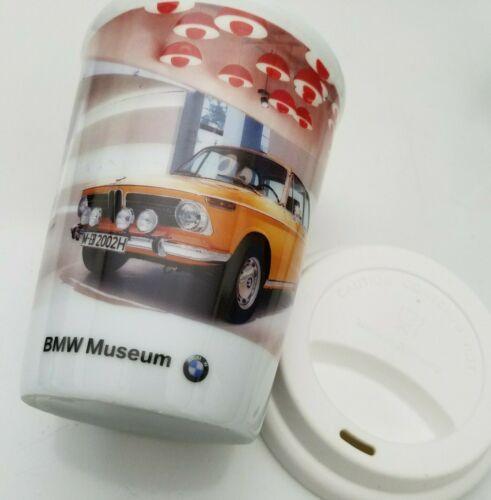 BMW Cup with Lid Coffee Mug Vintage Print BMW Museum Germany 10oz