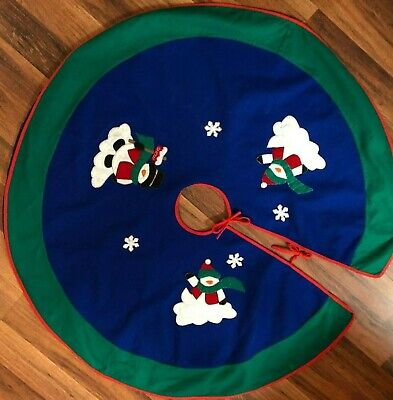 """Felt Christmas Tree Skirt Snowman Lined Primary Bright Colors Red Green Blue 44"""""""