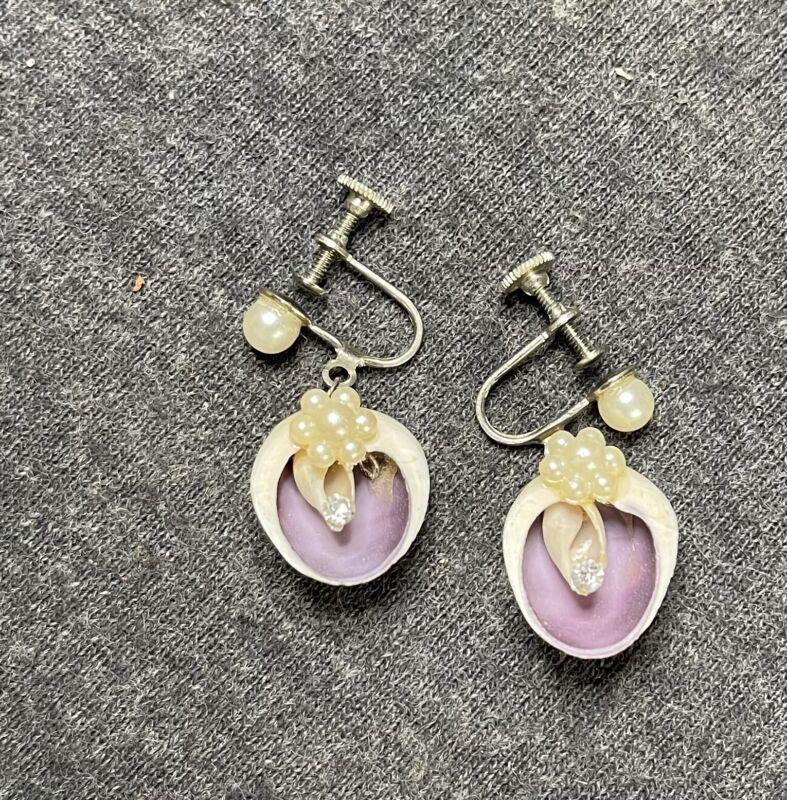 """Vintage Antique Early 1900s Sea Shell Drop Screw Back Earrings 3/4"""" Drop"""