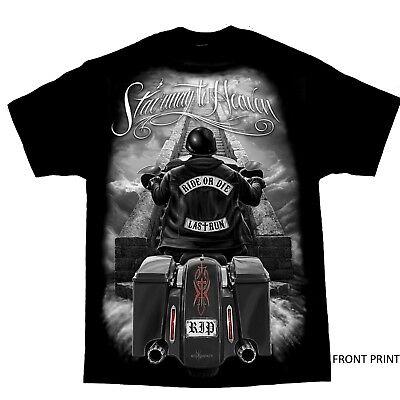 (Stairway To Heaven Ride Or Die Motorcycle Biker Outlaw T Shirt)