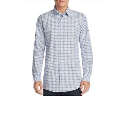 New $98 The Men's Store Bloomingdale's Blue Plaid Dress Button Up Shirt L & XL ()