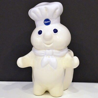 Vintage Pillsbury Dough Boy with Flour Bag Kitchen Utensil Holder  Design 1988