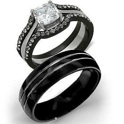 His Tungsten & Hers Black Stainless Steel 4 Pc Wedding Engagement Ring Band Set