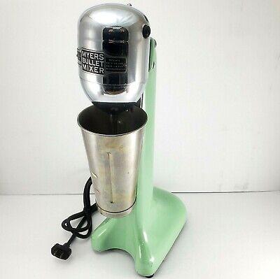 Vintage Myers Bullet Milkshake Mixer Seafoam Green Porcelain Enamel Cast Iron