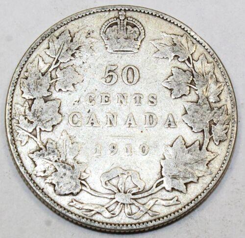 1910 Canada / Canadian Fifty-Cent Half-Dollar - VG Very Good - Edward Leaves