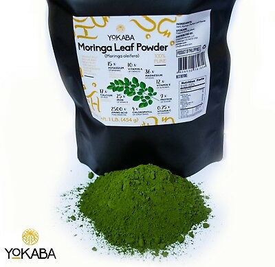 Moringa Oleifera Leaf Powder 1 lb ( 16oz ) - Organic, Natural 100% Pure , YOKABA