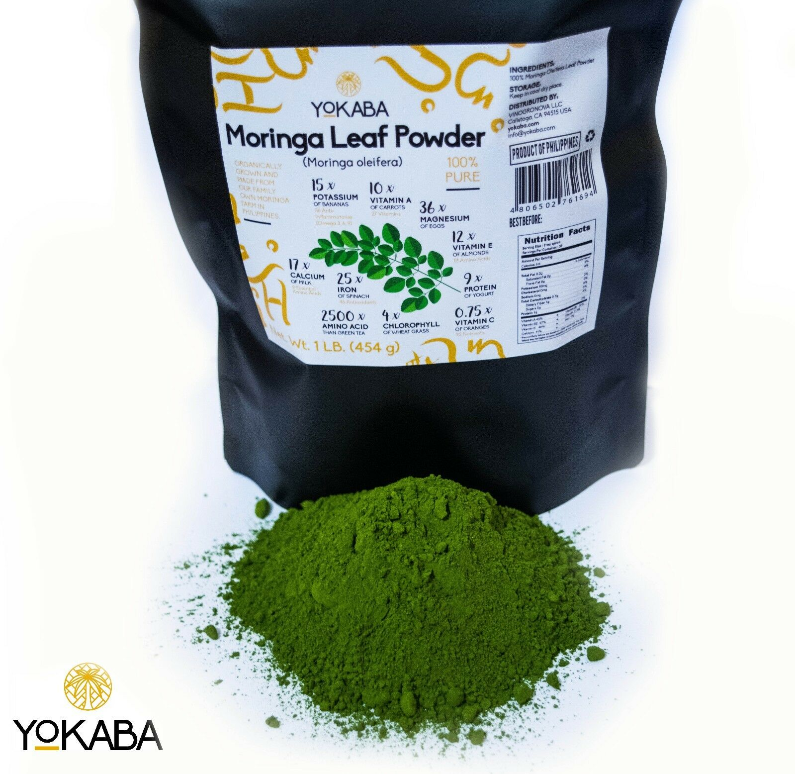 Moringa Oleifera Leaf Powder 1 lb  - Organic, Natural 100% P